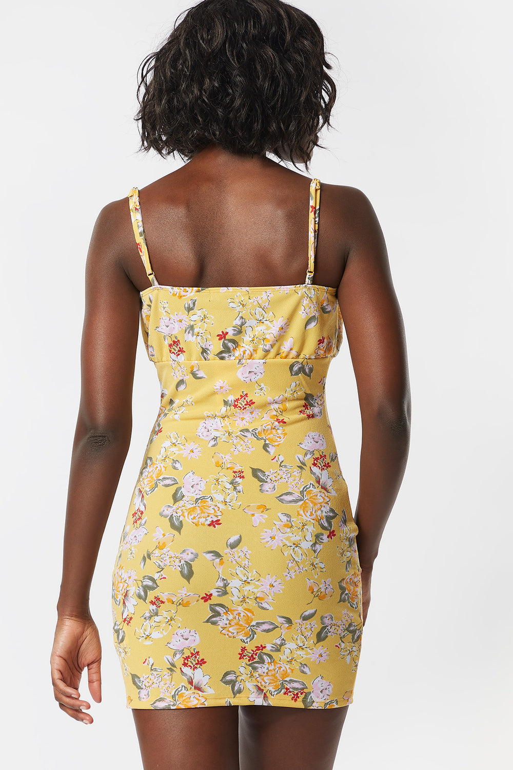 Printed Floral Milkmaid Self-Tie Front Cami Mini Dress Neon Yellow