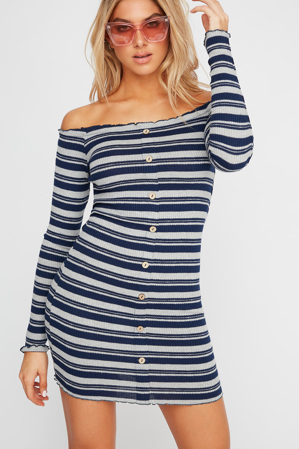 Striped Off The Shoulder Button Long Sleeve Ribbed Dress Deep Blue