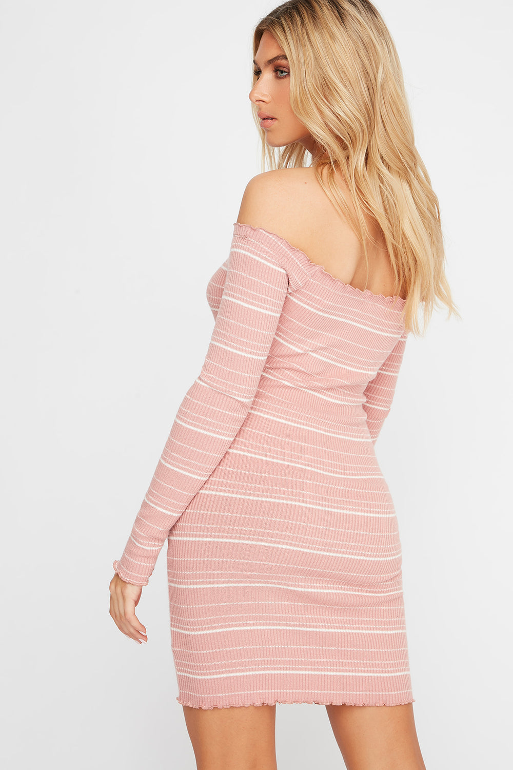 Striped Off The Shoulder Button Long Sleeve Ribbed Dress Sky Blue