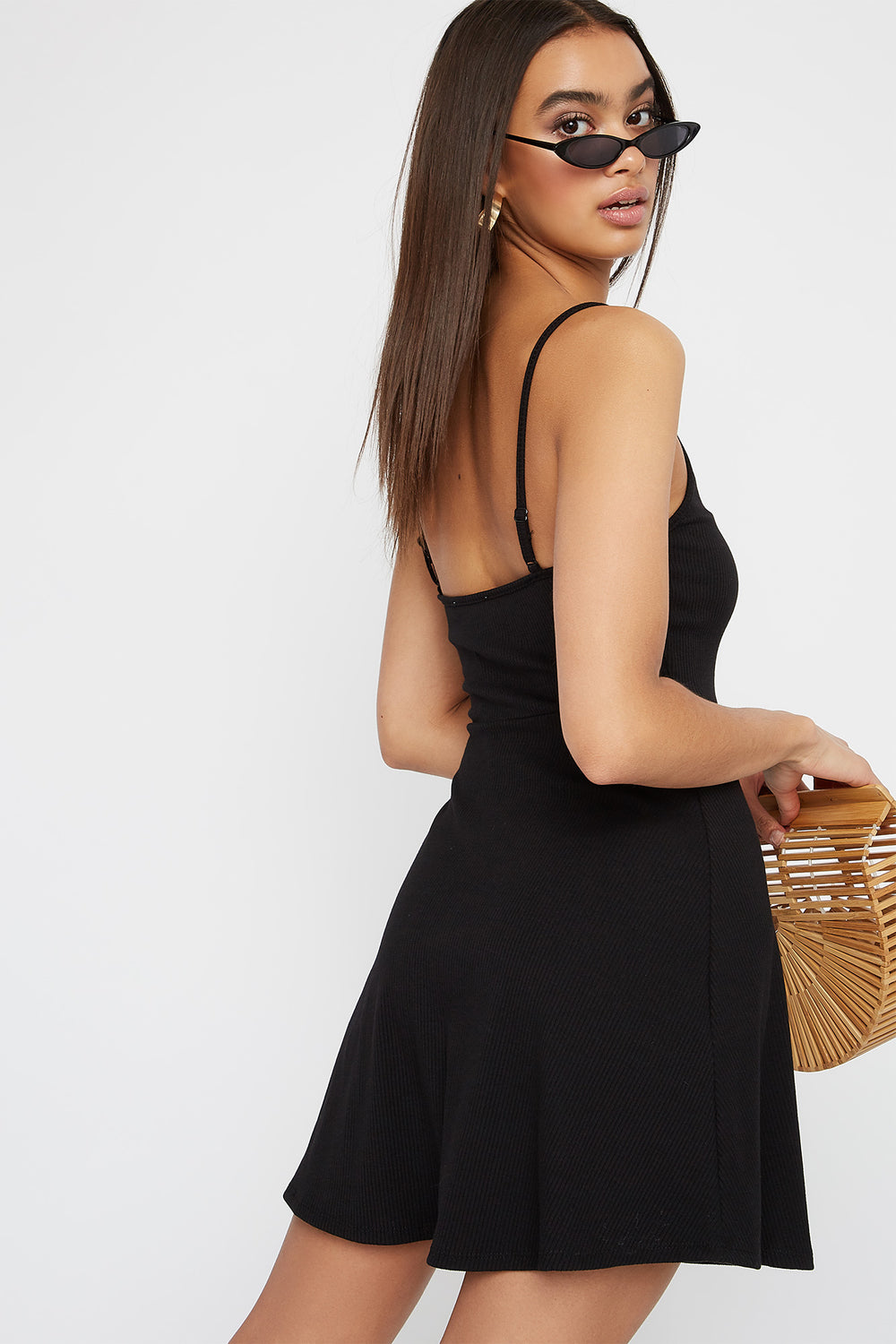 Women Dresses Ribbed V-Neck Button Sleeveless Skater Dress Black