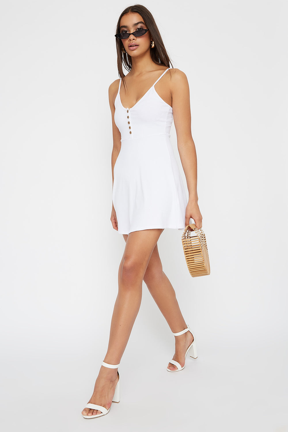 Ribbed V-Neck Button Sleeveless Skater Dress White