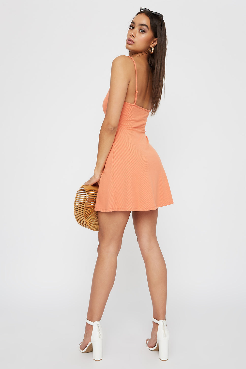 Women Dresses Ribbed V-Neck Button Sleeveless Skater Dress Neon Orange