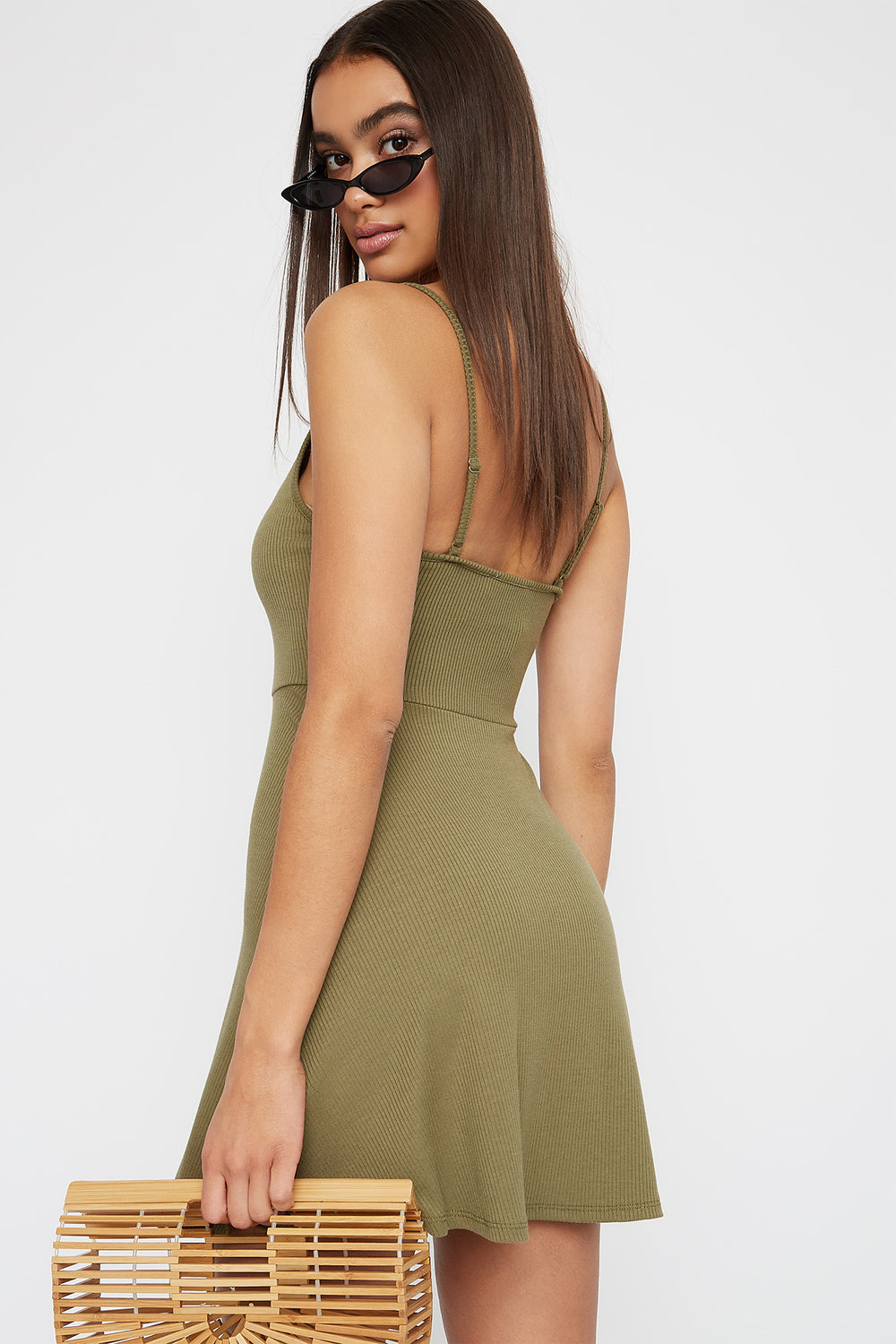 Ribbed V-Neck Button Sleeveless Skater Dress Dark Green