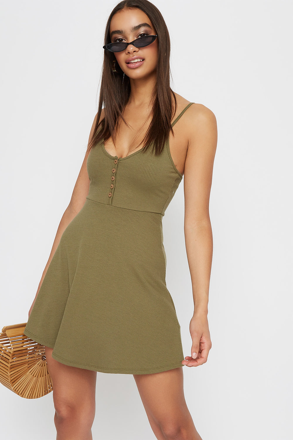 Women Dresses Ribbed V-Neck Button Sleeveless Skater Dress Dark Green