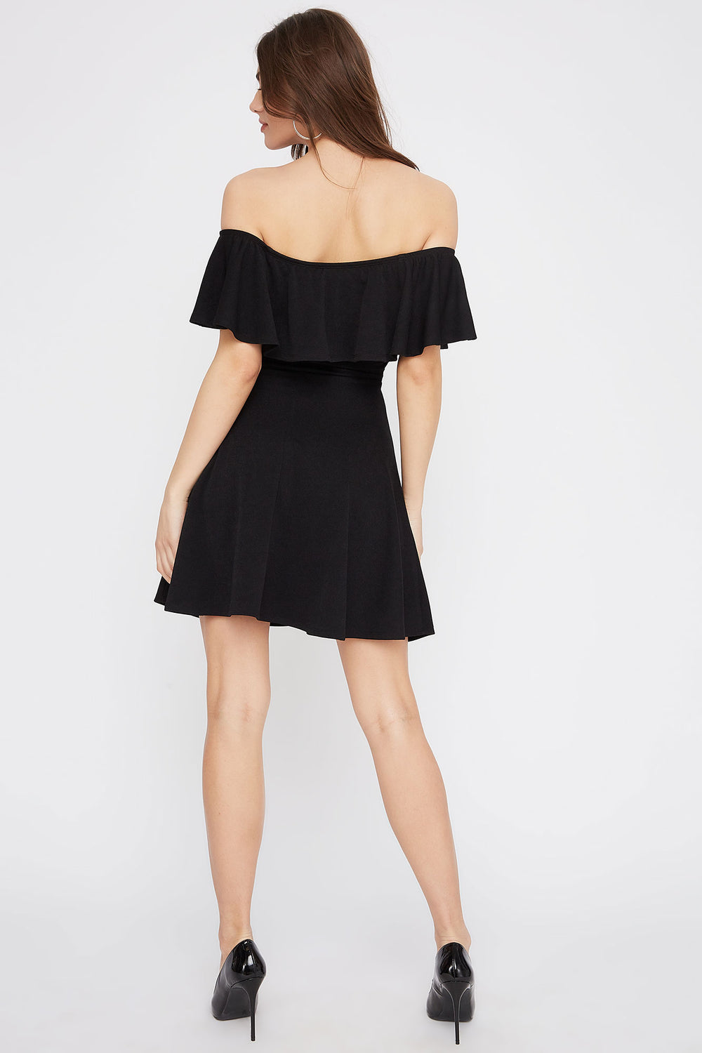 Off The Shoulder Ruffle Skater Dress Black