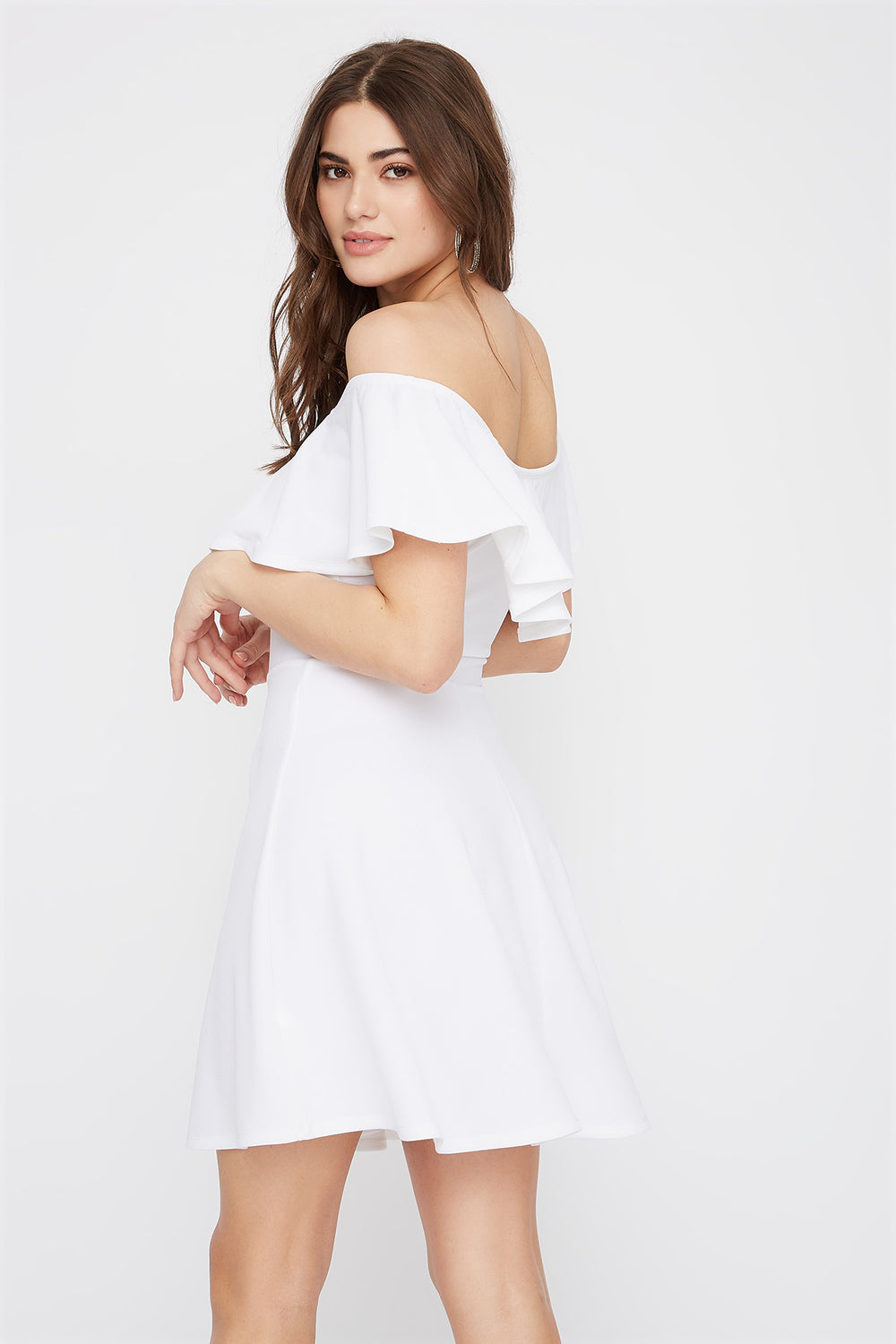 Off The Shoulder Ruffle Skater Dress White