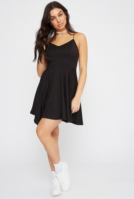 Soft V-Neck Criss Cross Back Skater Dress