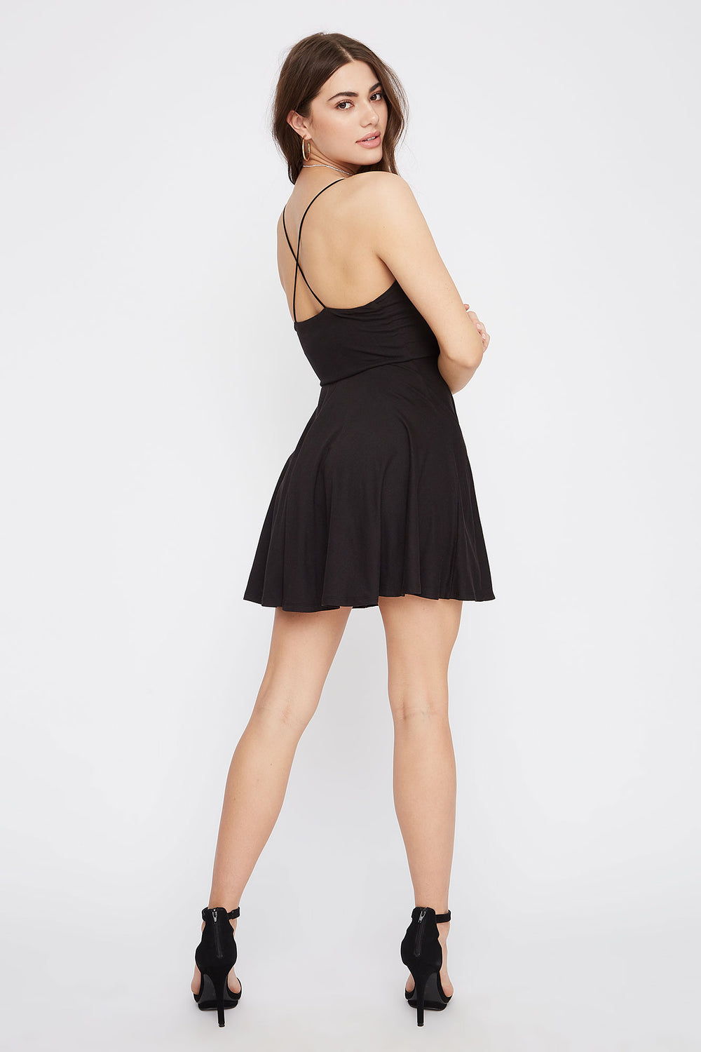 Soft V-Neck Criss Cross Back Skater Dress Black