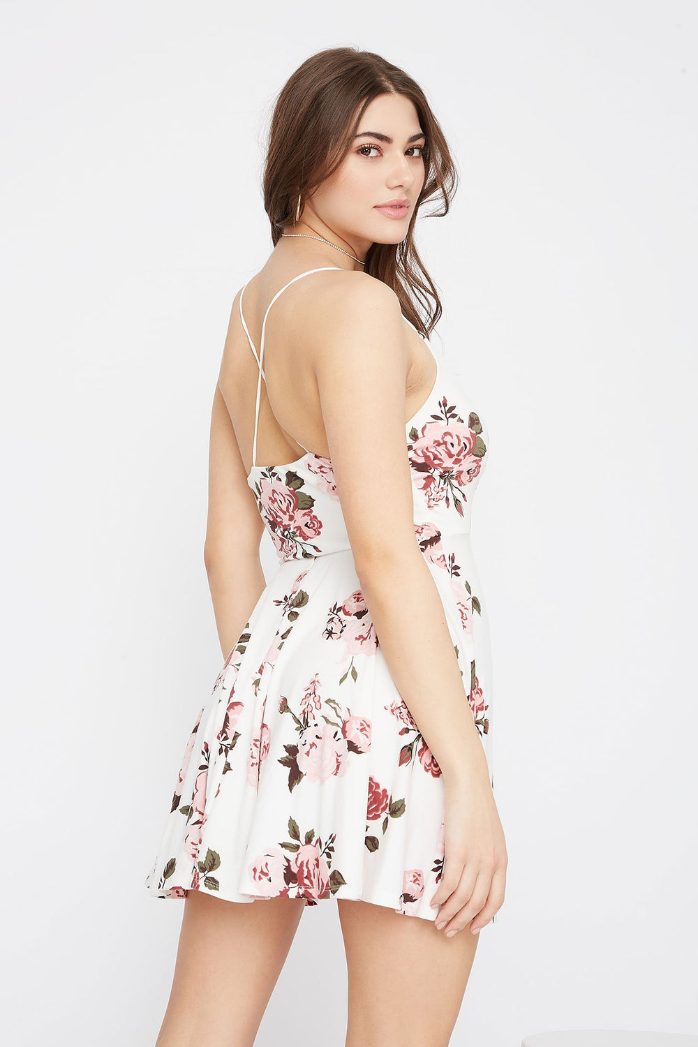 Soft V-Neck Criss Cross Back Skater Dress Off White