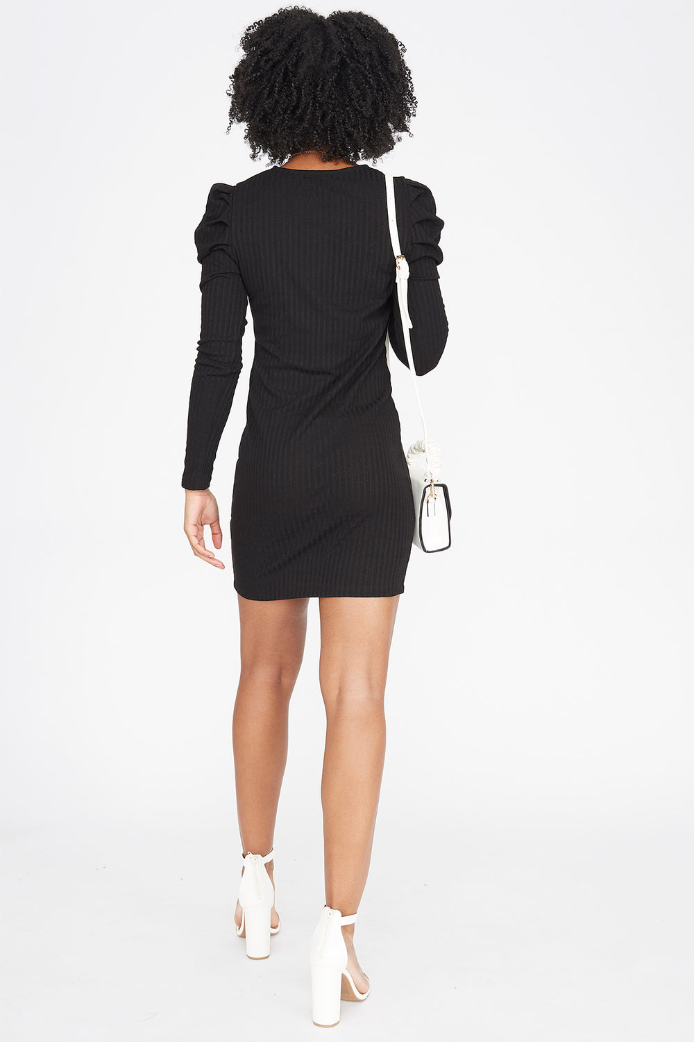 Ribbed Long Puff Sleeve Mini Dress Black