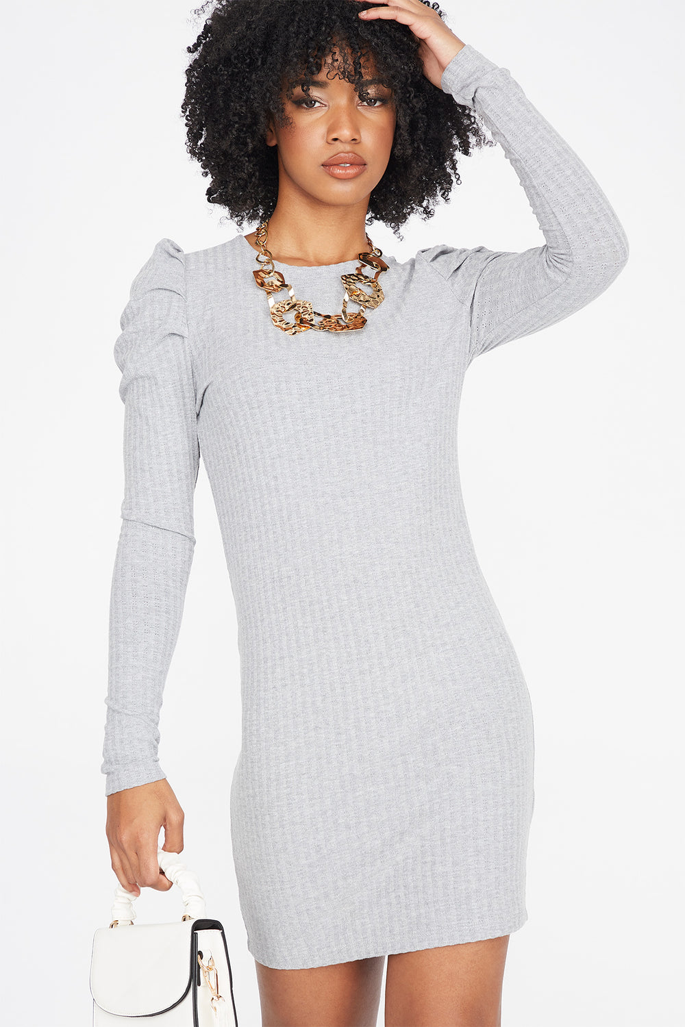Ribbed Long Puff Sleeve Mini Dress Heather Grey