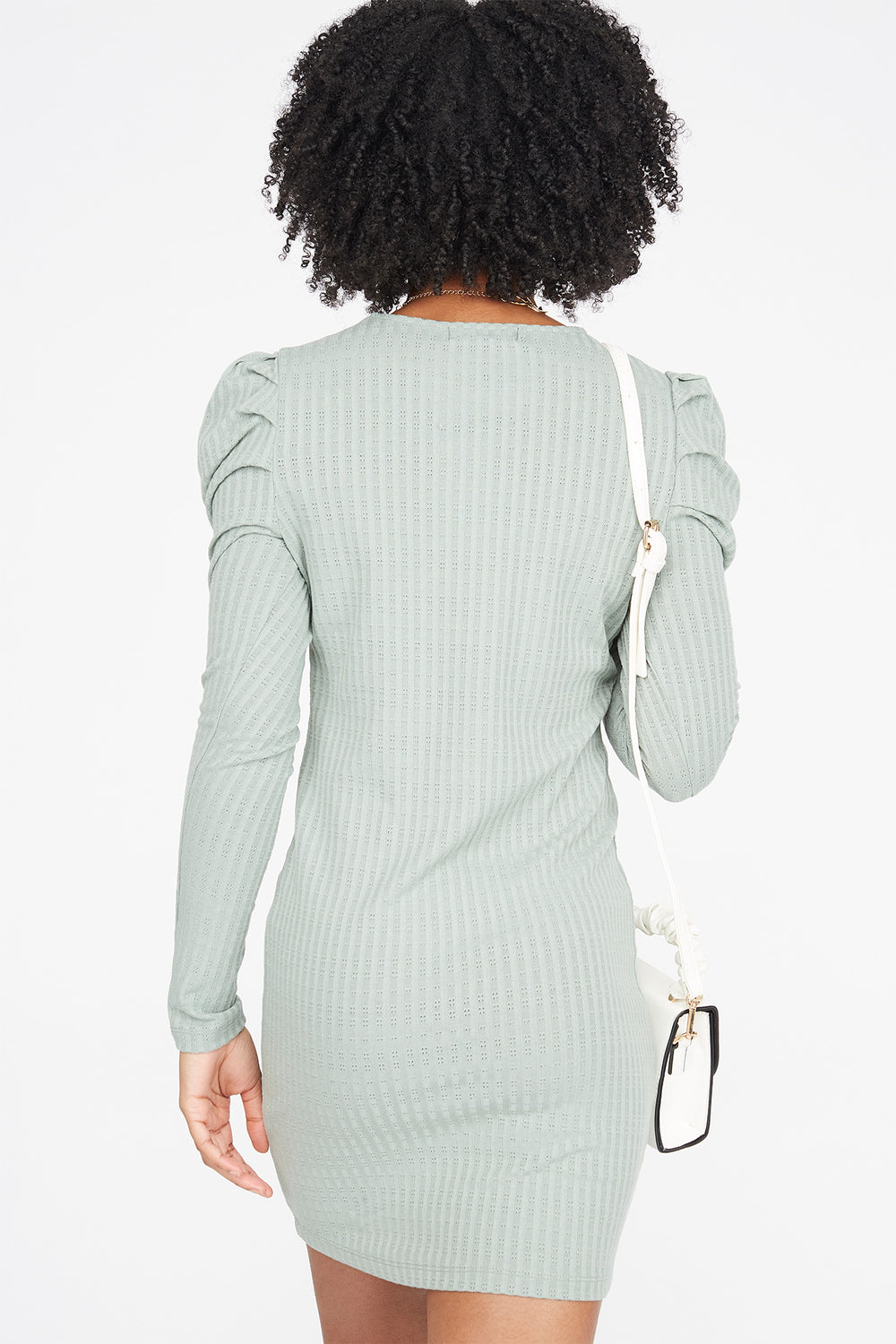 Ribbed Long Puff Sleeve Mini Dress Dark Green