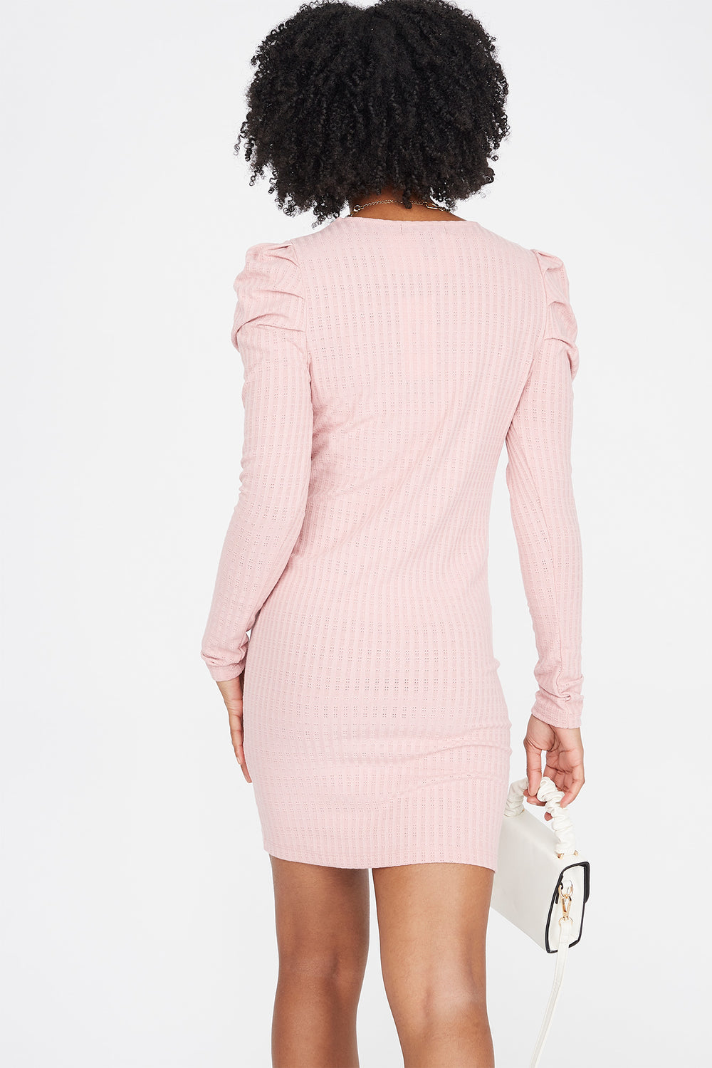 Ribbed Long Puff Sleeve Mini Dress Mauve