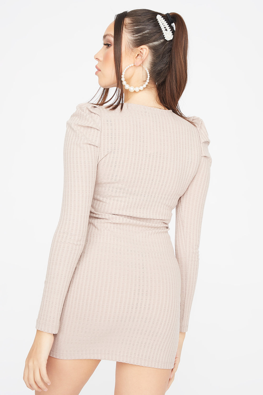 Ribbed Long Puff Sleeve Mini Dress Taupe