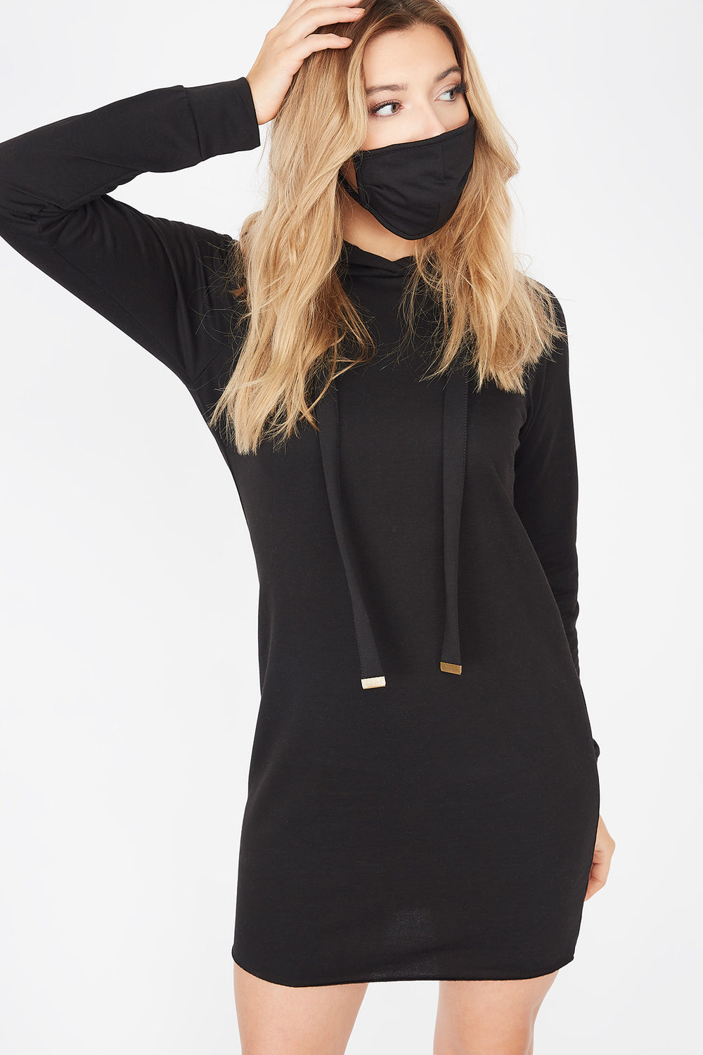 2-Piece Soft Fleece Hoodie Dress With Washable & Reusable Protective Face Mask Set Black