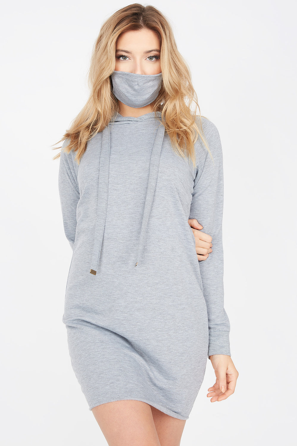 2-Piece Soft Fleece Hoodie Dress With Washable & Reusable Protective Face Mask Set Heather Grey