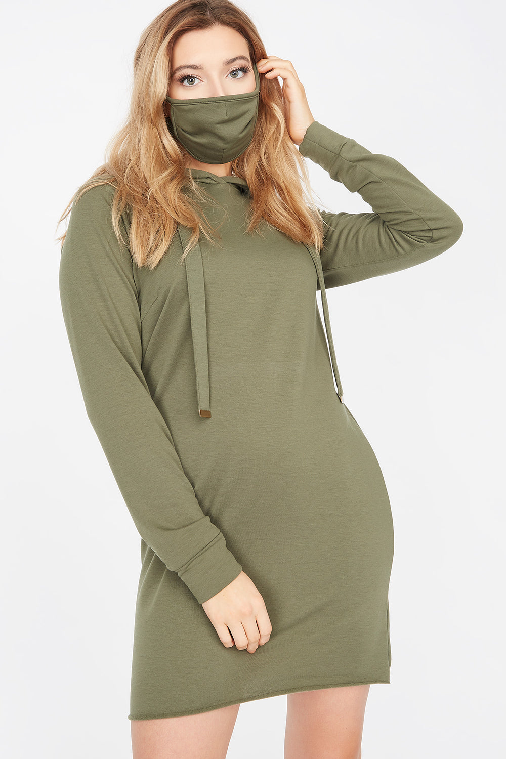 2-Piece Soft Fleece Hoodie Dress With Washable & Reusable Protective Face Mask Set Dark Green