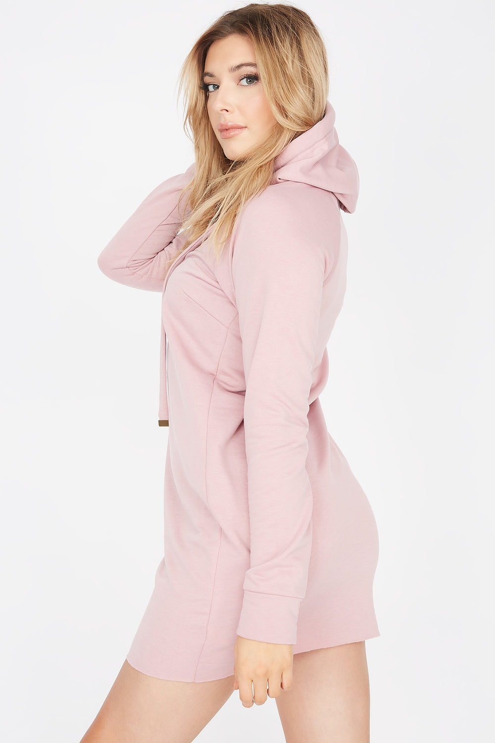 2-Piece Soft Fleece Hoodie Dress With Washable & Reusable Protective Face Mask Set Mauve