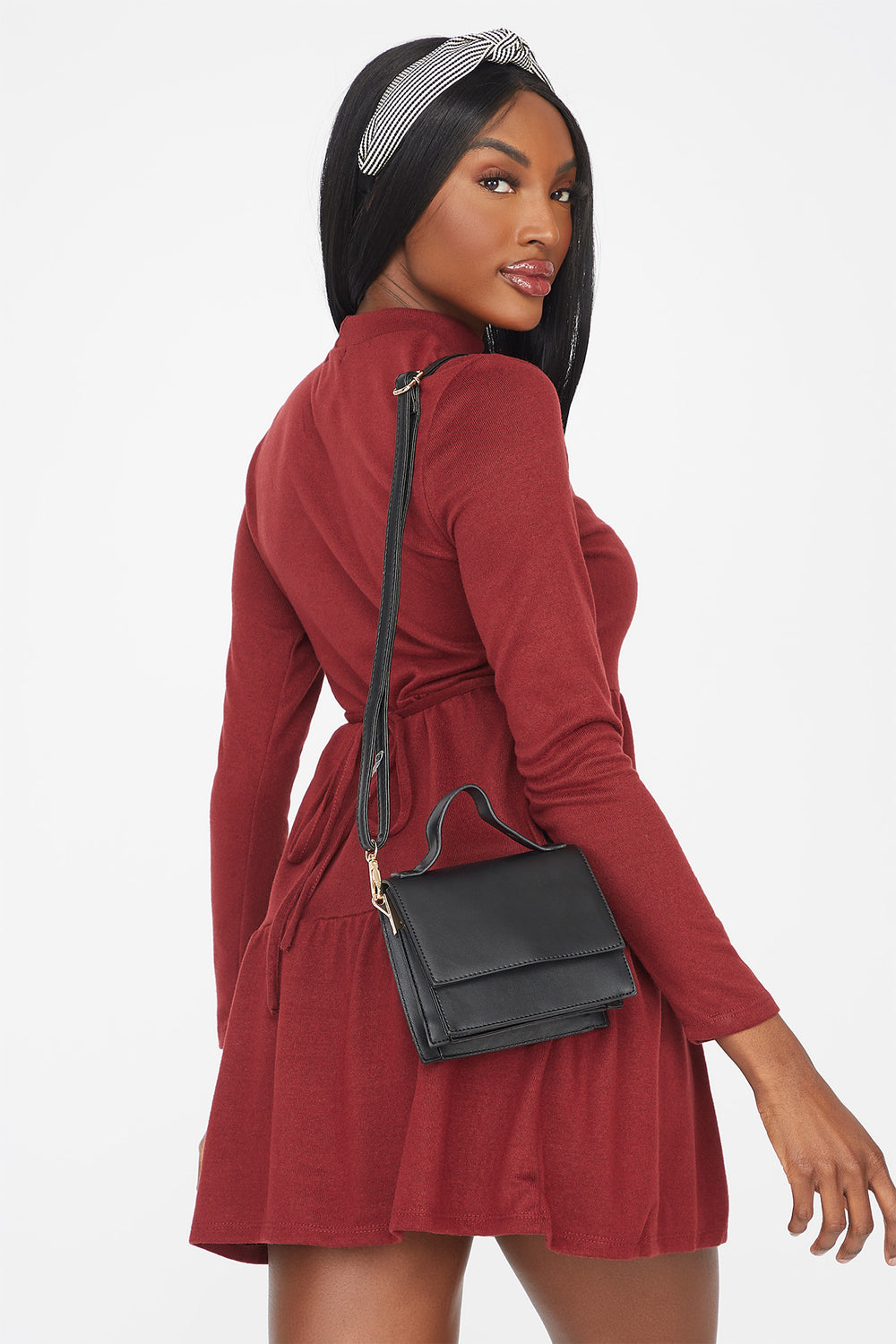 Knit Mock Neck Tiered Babydoll Dress Dark Red