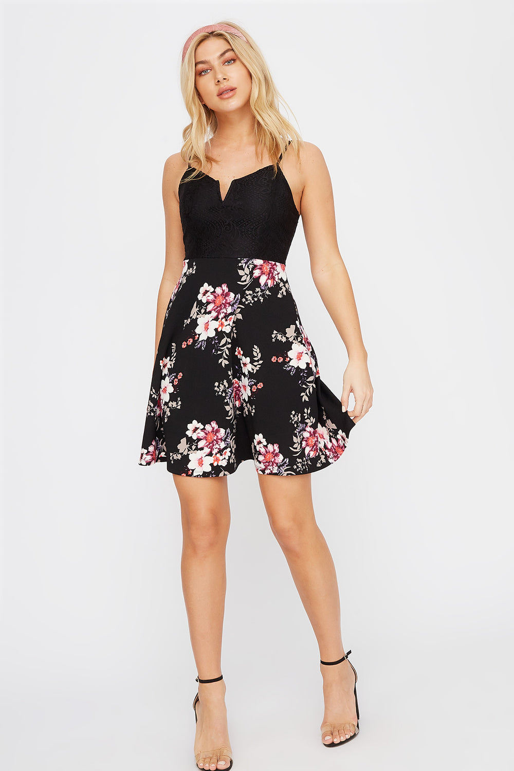 Contrast Lace Floral Skater Dress Black
