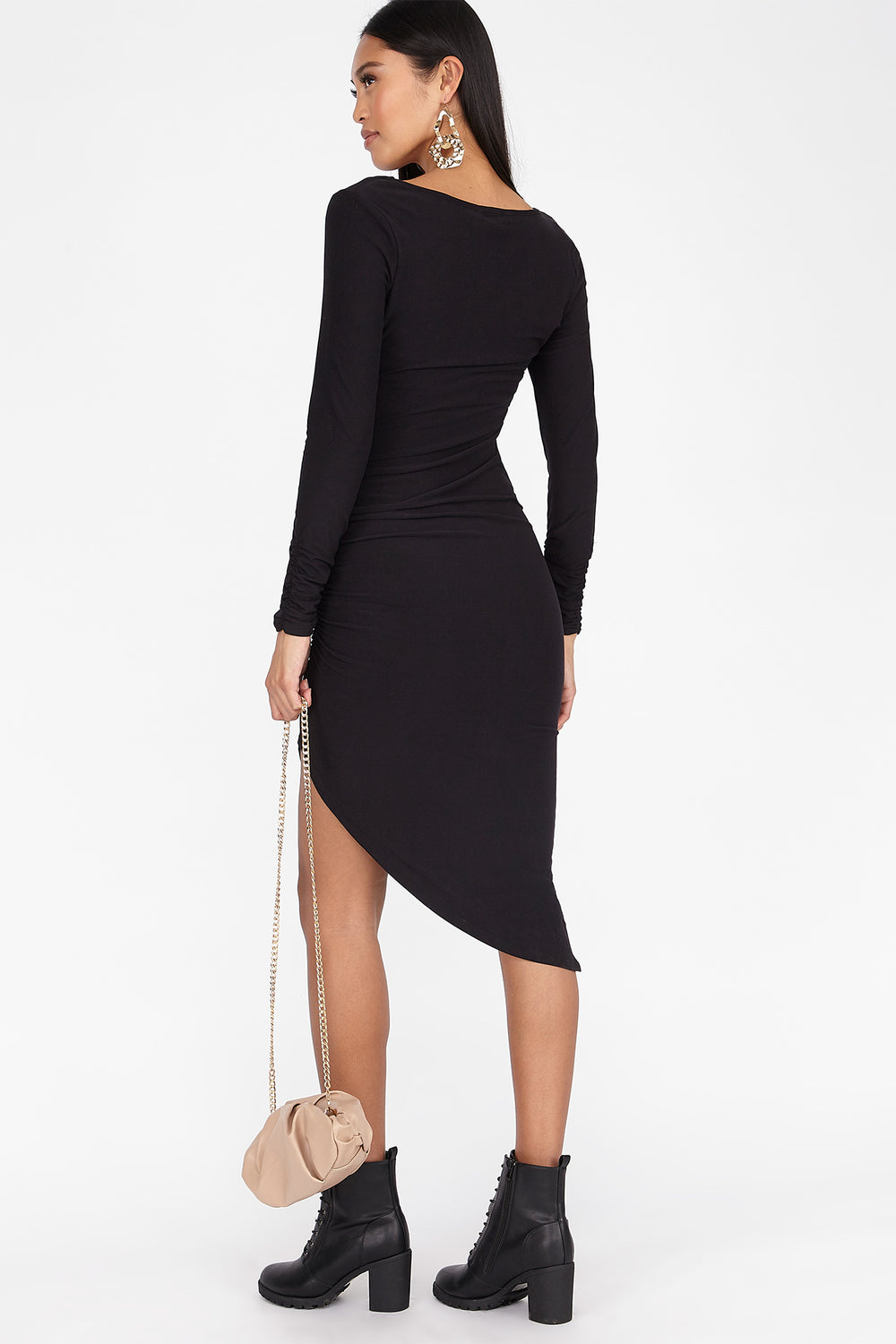 Soft Asymmetrical Side Ruched Long Sleeve Dress Black