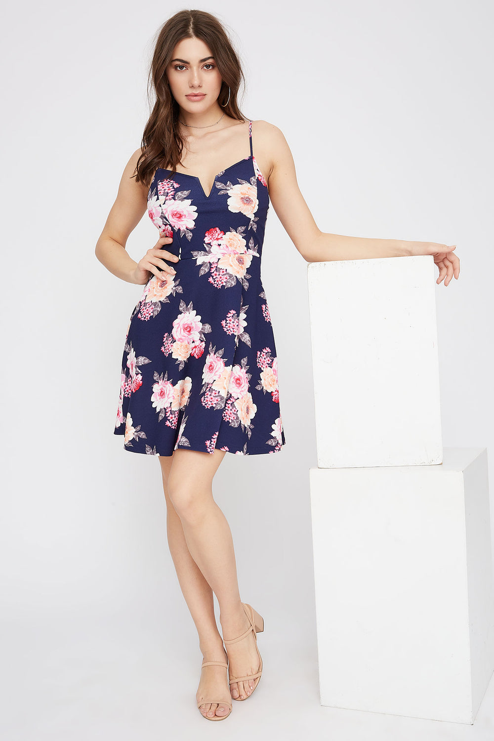V-Neck Floral Skater Dress Navy