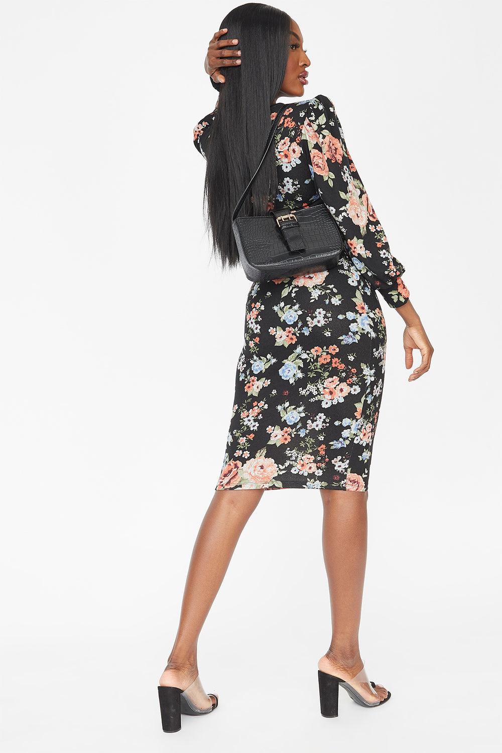 Floral Crew Neck Belted Puff Sleeve Midi Dress Black