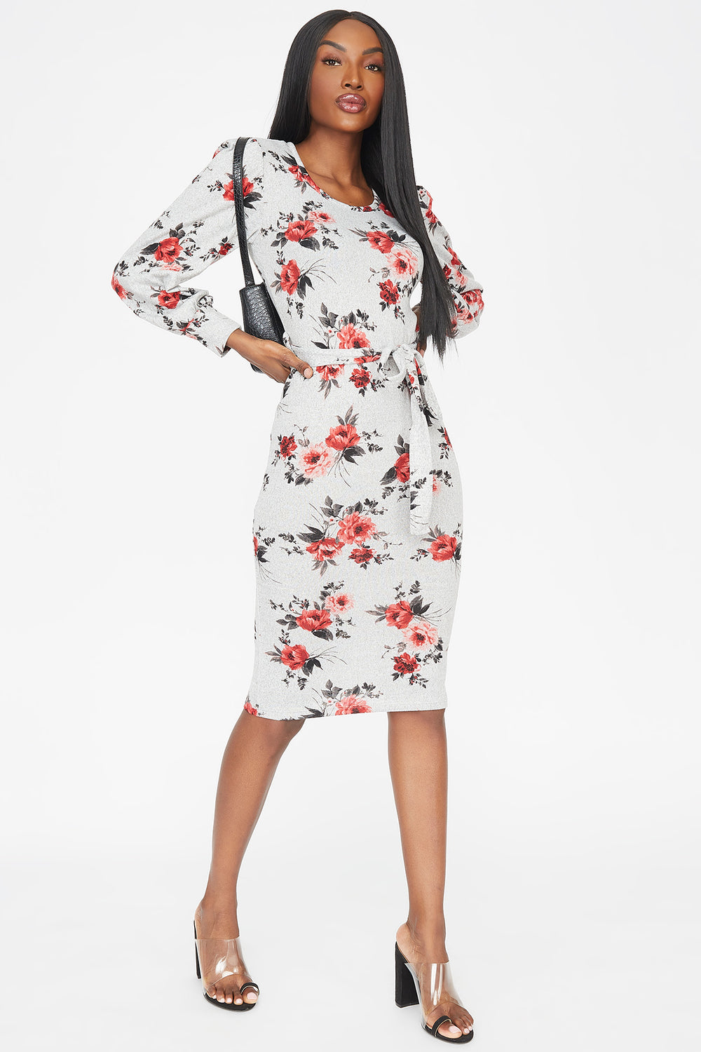 Floral Crew Neck Belted Puff Sleeve Midi Dress Heather Grey