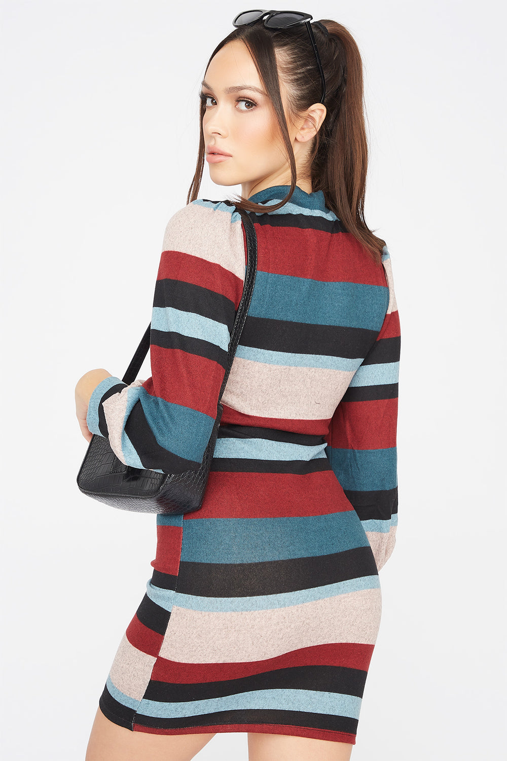 Striped Mock Neck Puff Sleeve Bodycon Dress Ocean Blue