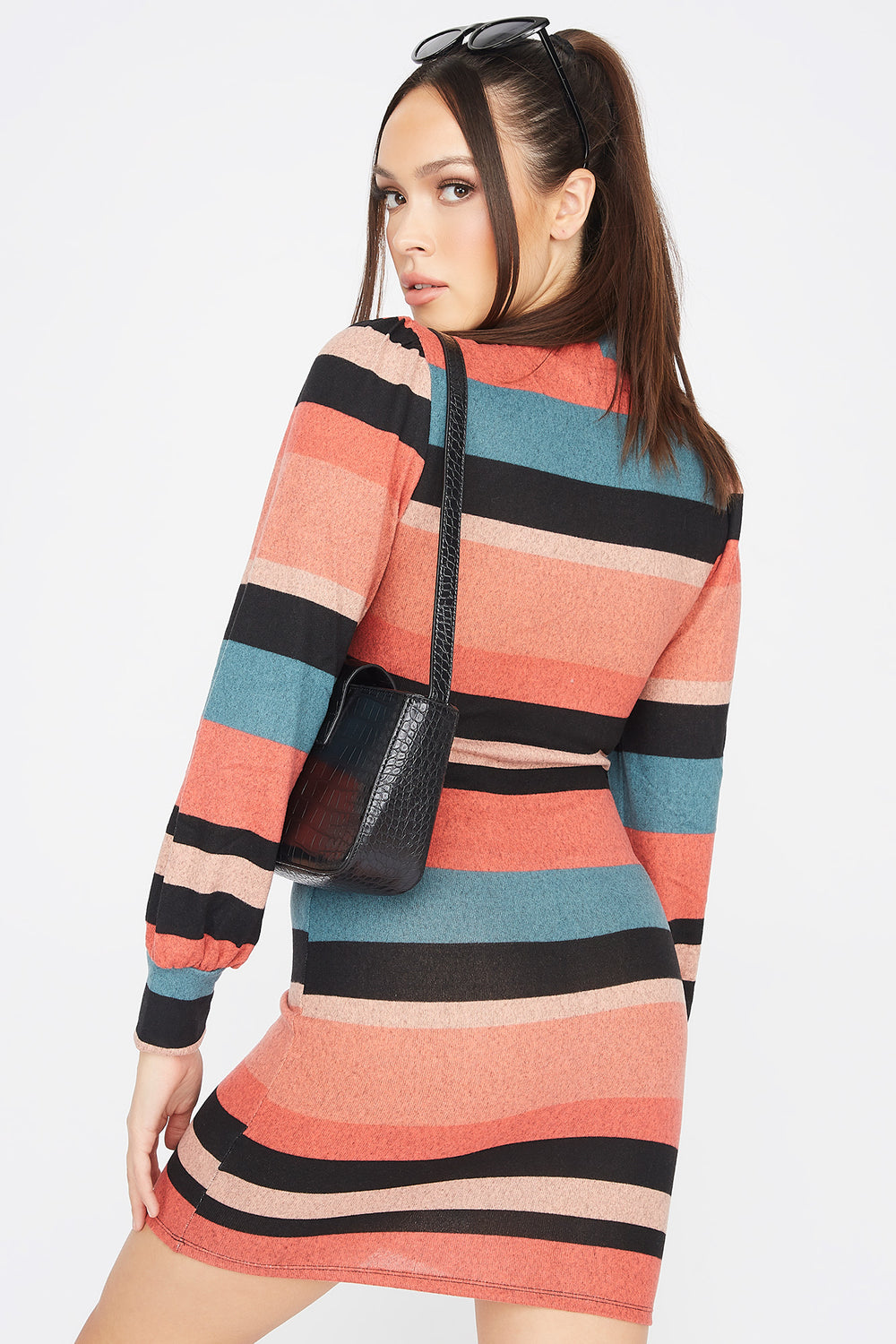 Striped Mock Neck Puff Sleeve Bodycon Dress Coral