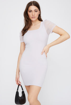 Mesh Sleeve Square Neck Mini Dress