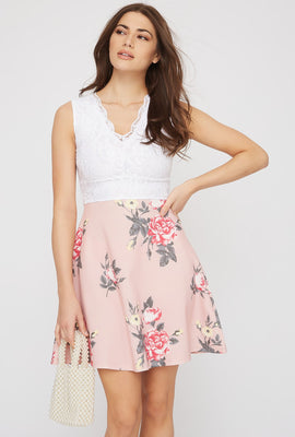 Contrast Lace Floral Skater Dress