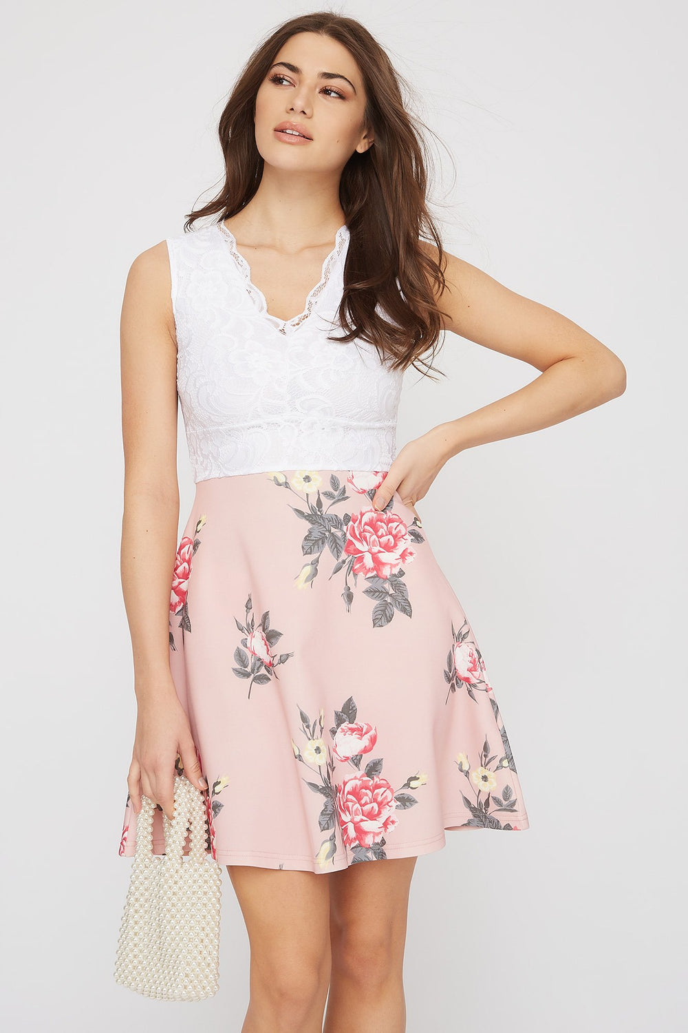 Contrast Lace Floral Skater Dress Light Pink