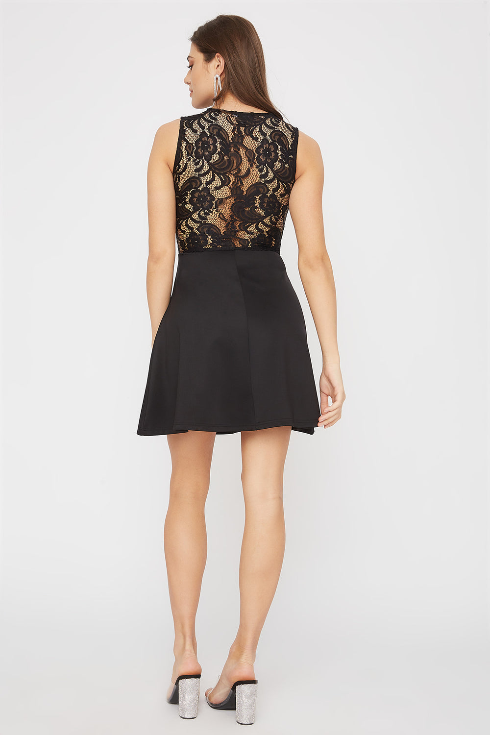 Contrast Lace Skater Dress Black