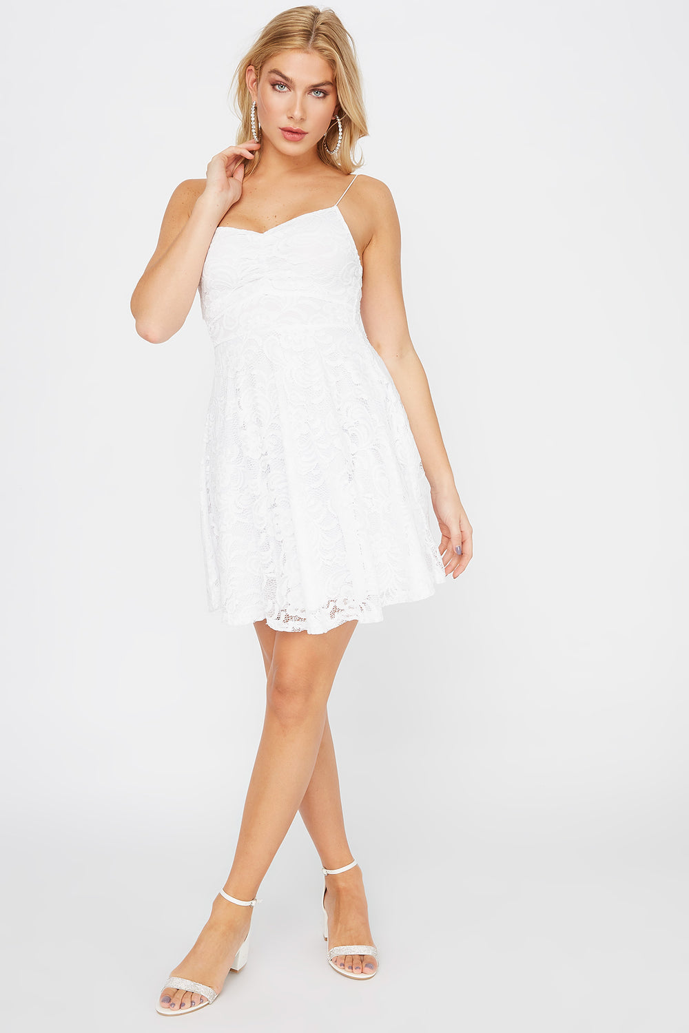 Lace Ruched V-Neck Skater Dress White