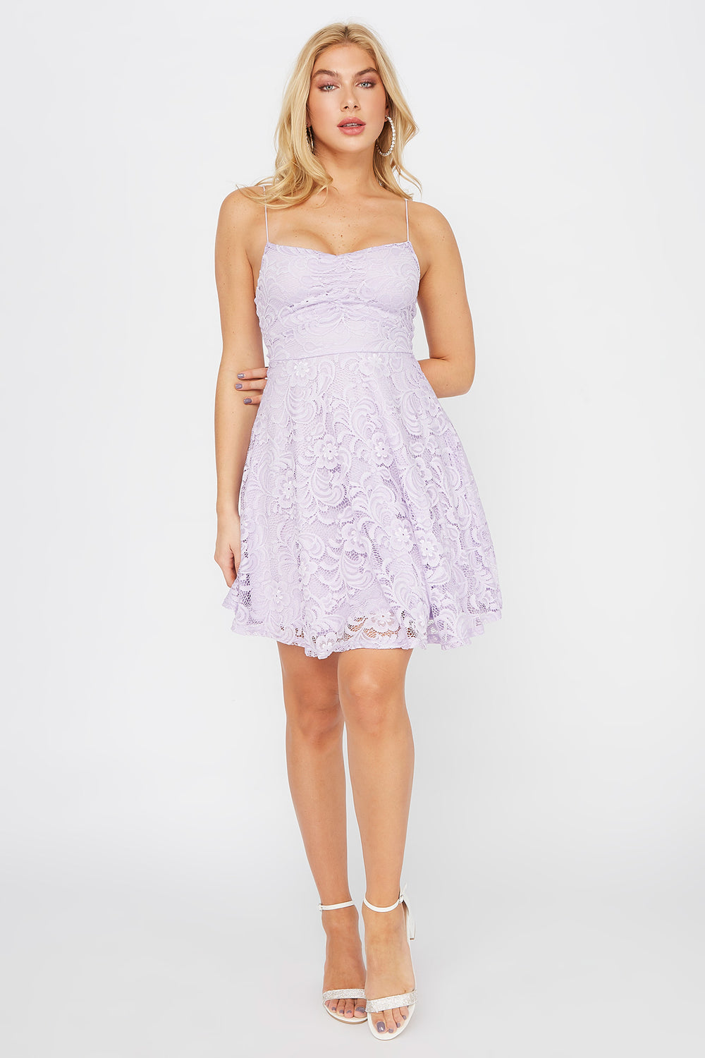 Lace Ruched V-Neck Skater Dress Lilac