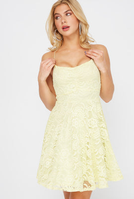 Lace Ruched V-Neck Skater Dress