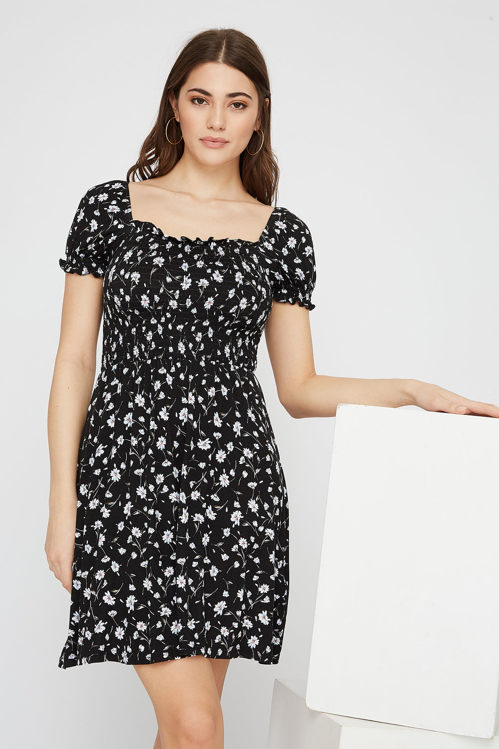 Printed Off The Shoulder Smocked Skater Dress Black