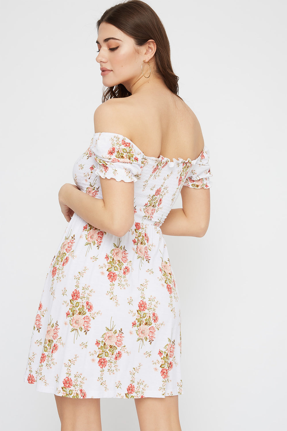 Printed Off The Shoulder Smocked Skater Dress White