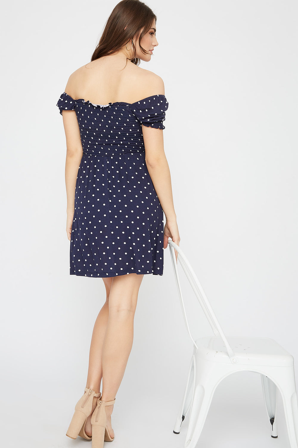 Printed Off The Shoulder Smocked Skater Dress Navy
