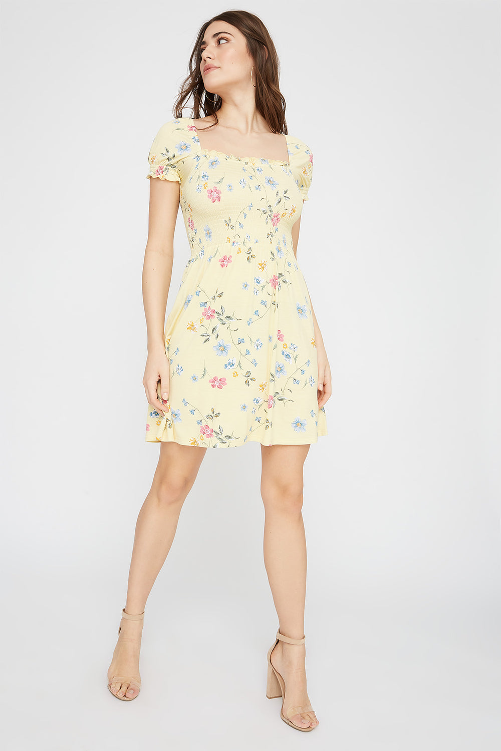 Printed Off The Shoulder Smocked Skater Dress Yellow