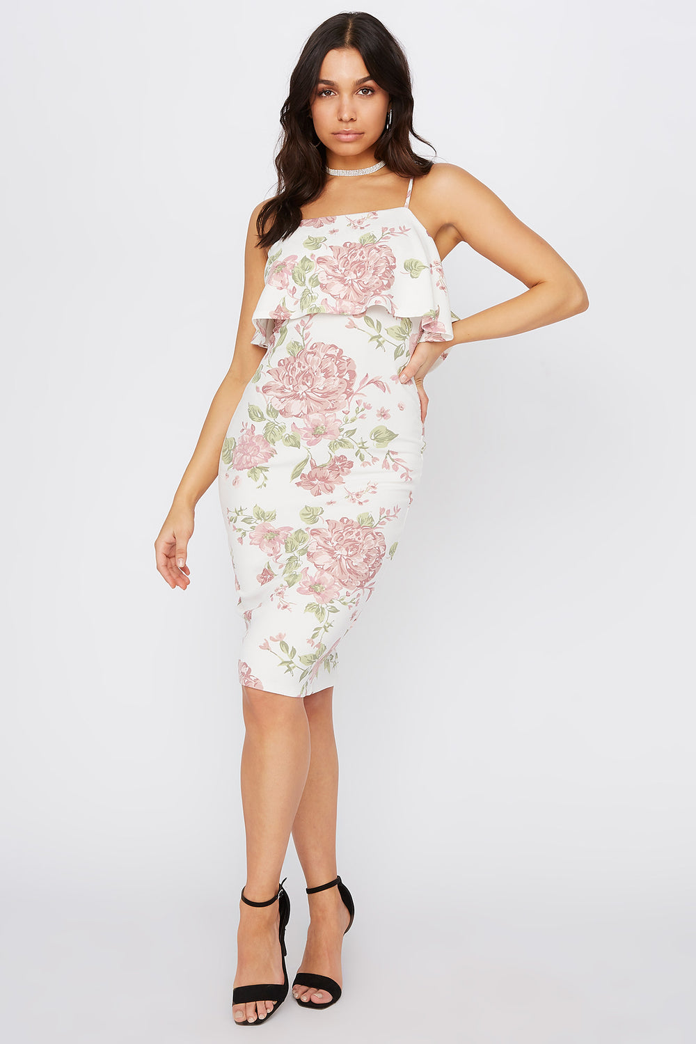 Floral Flounce Bodycon Midi Dress White