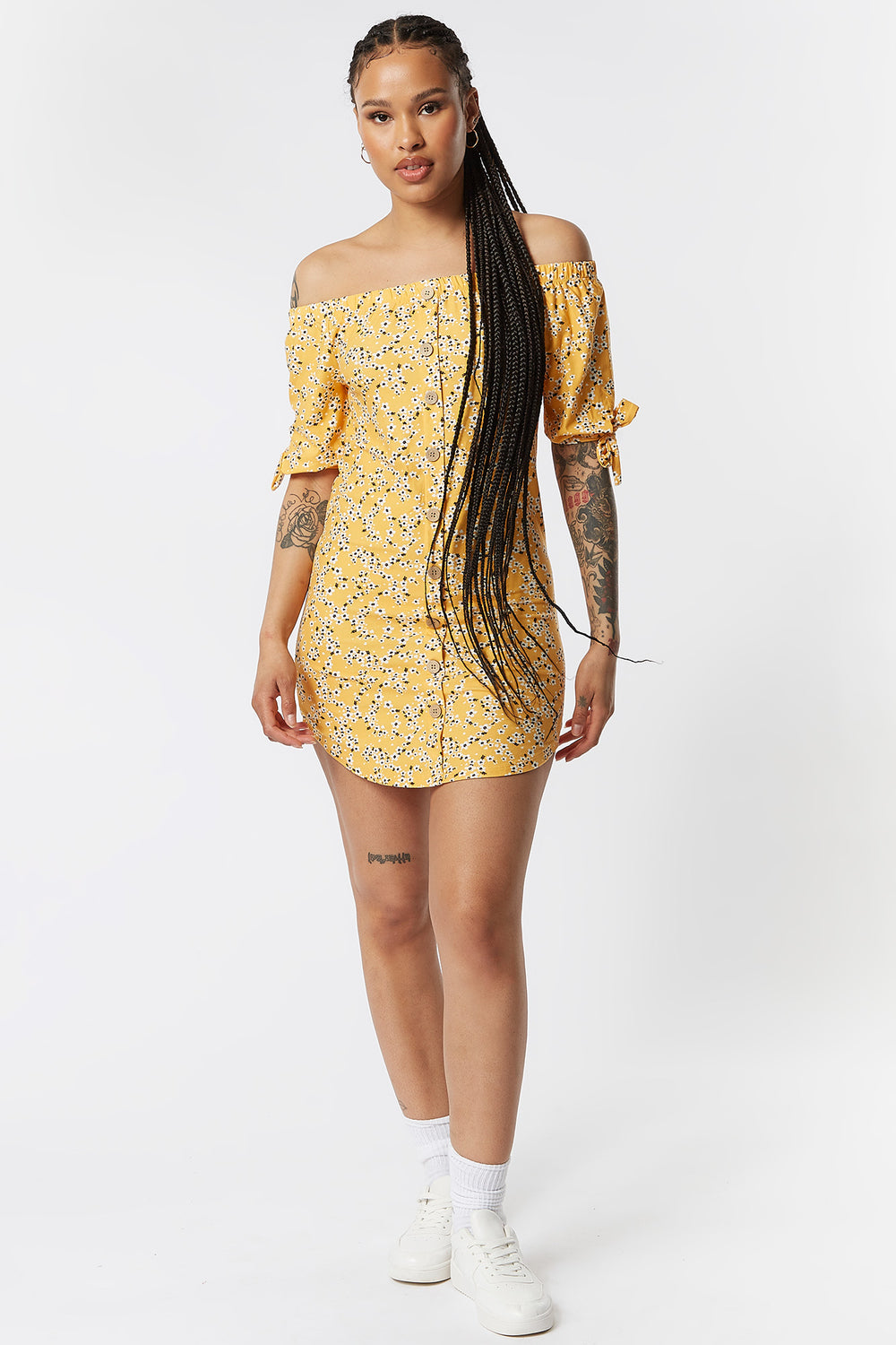 Yellow Floral Off The Shoulder Button-Up Shirt Dress Yellow