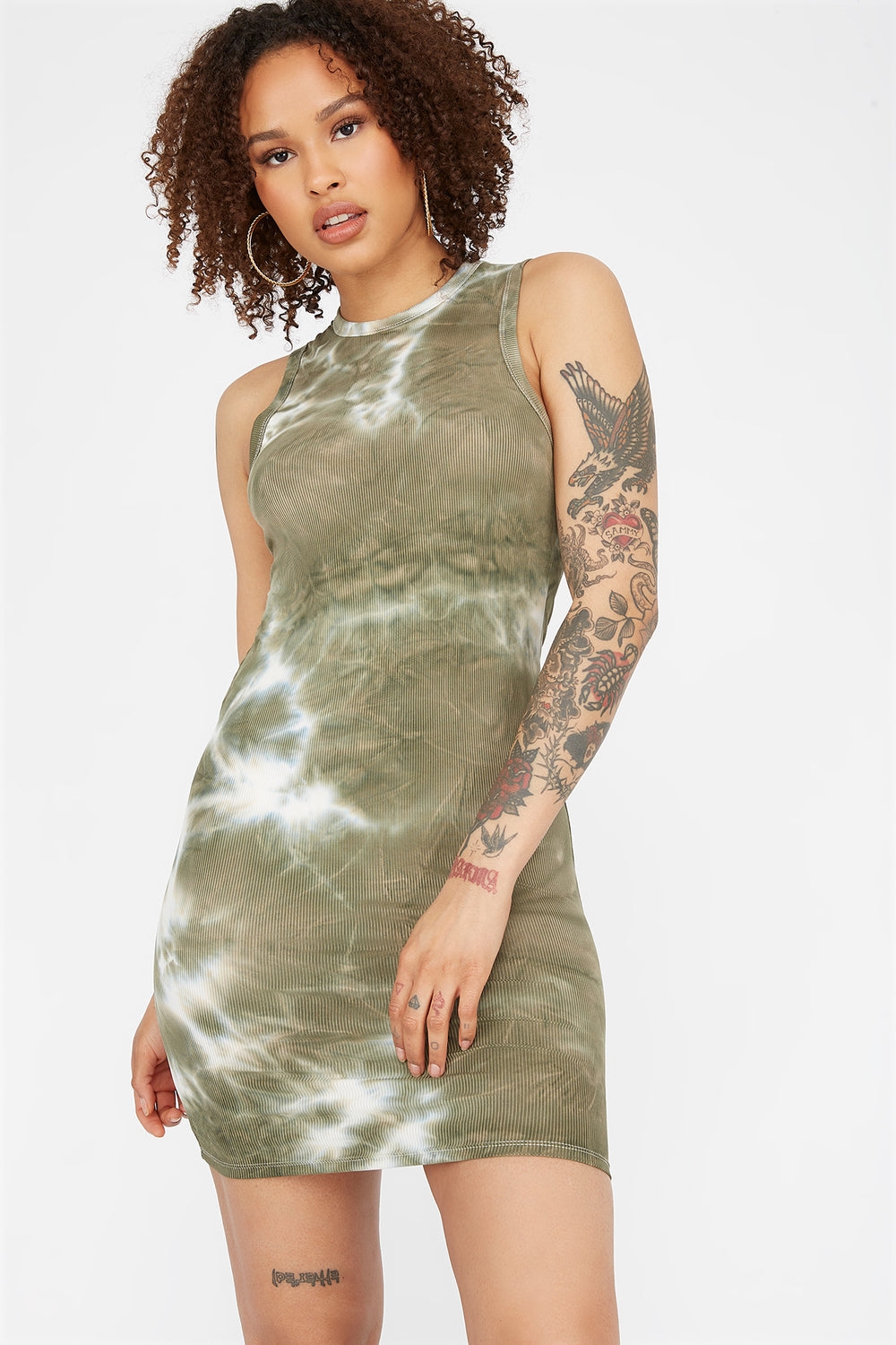 Soft Green Tie Dye Ribbed Sleeveless Bodycon Mini Dress Neon Green