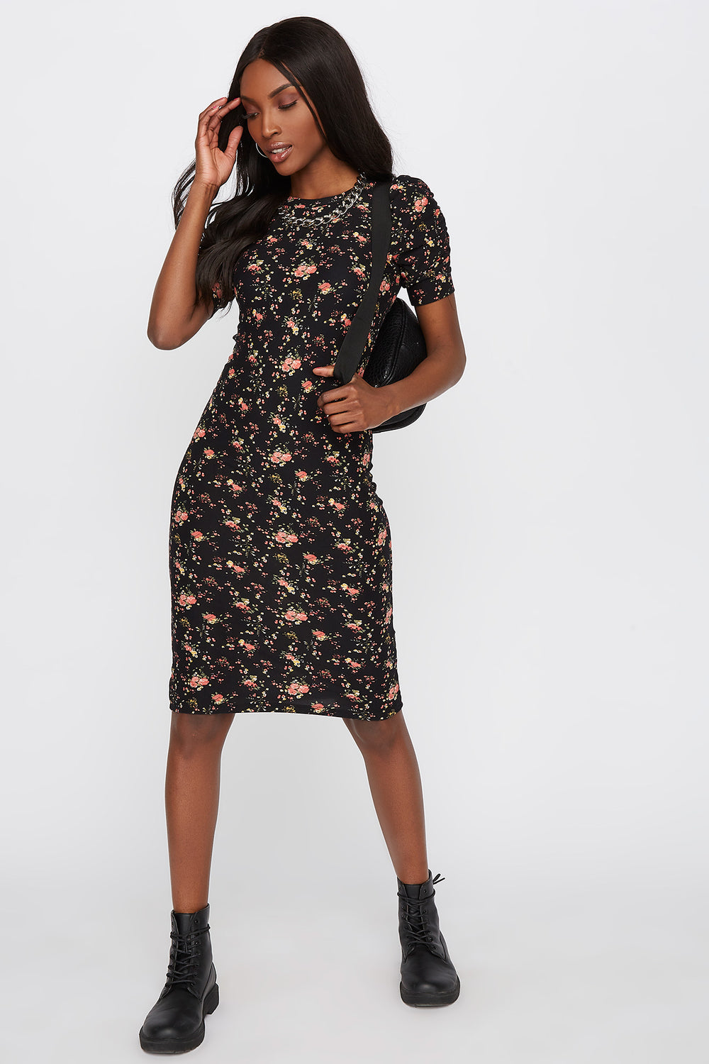 Floral Short Sleeve Bodycon Midi Dress Black