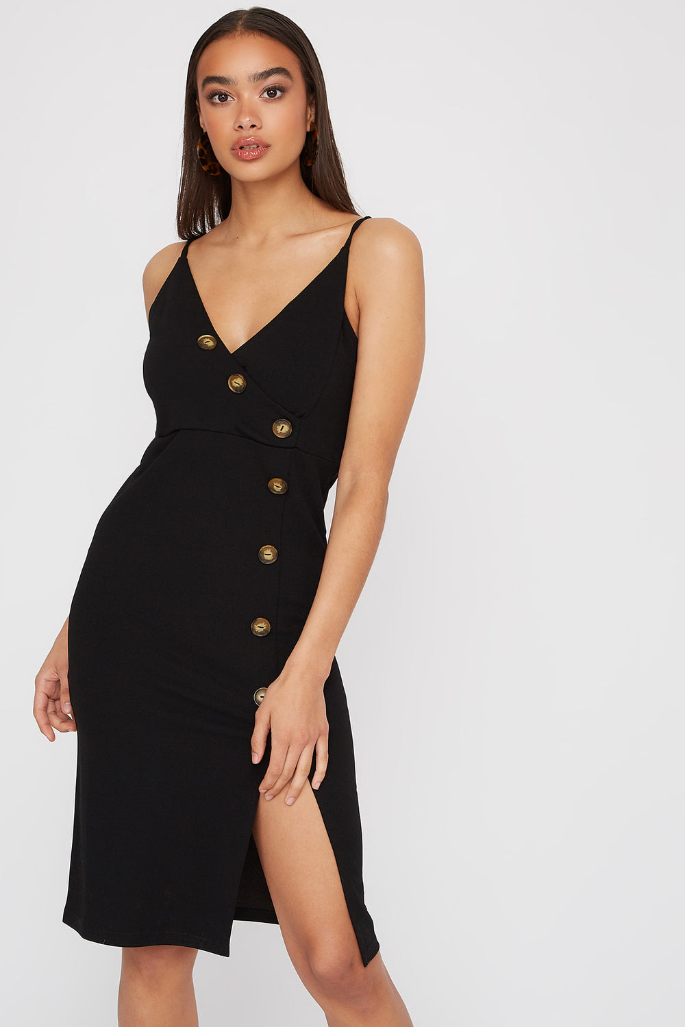V-Neck Asymmetrical Slit Midi Dress Black