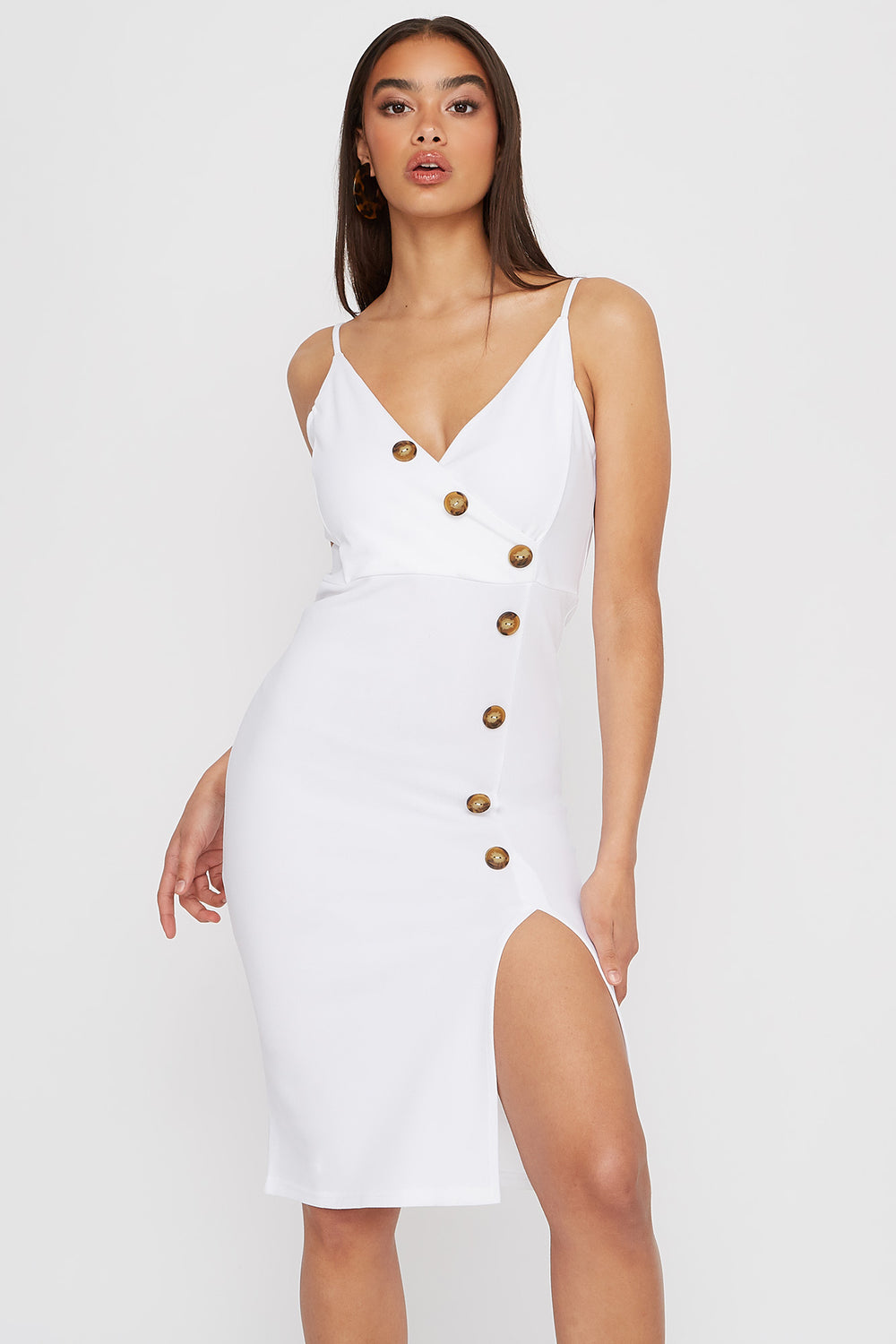 V-Neck Asymmetrical Slit Midi Dress White