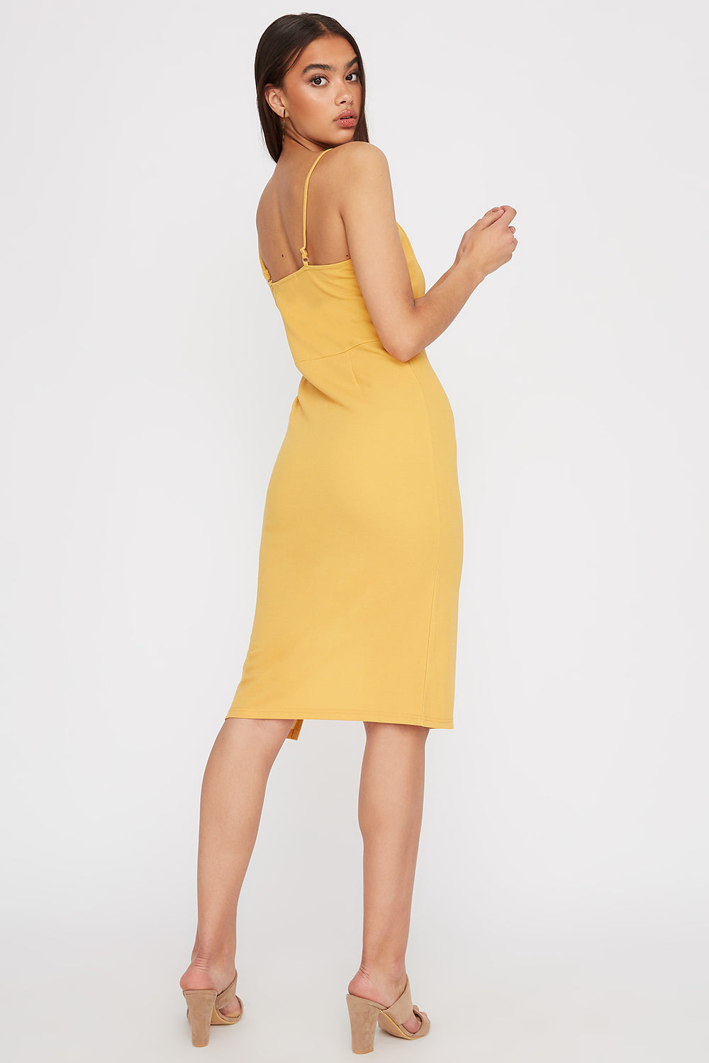 V-Neck Asymmetrical Slit Midi Dress Yellow