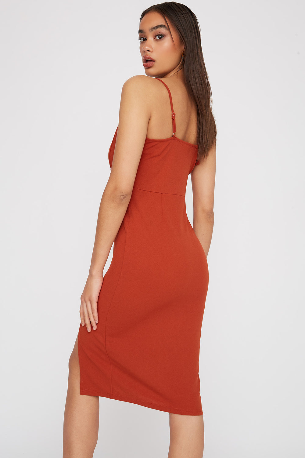 V-Neck Asymmetrical Slit Midi Dress Rust