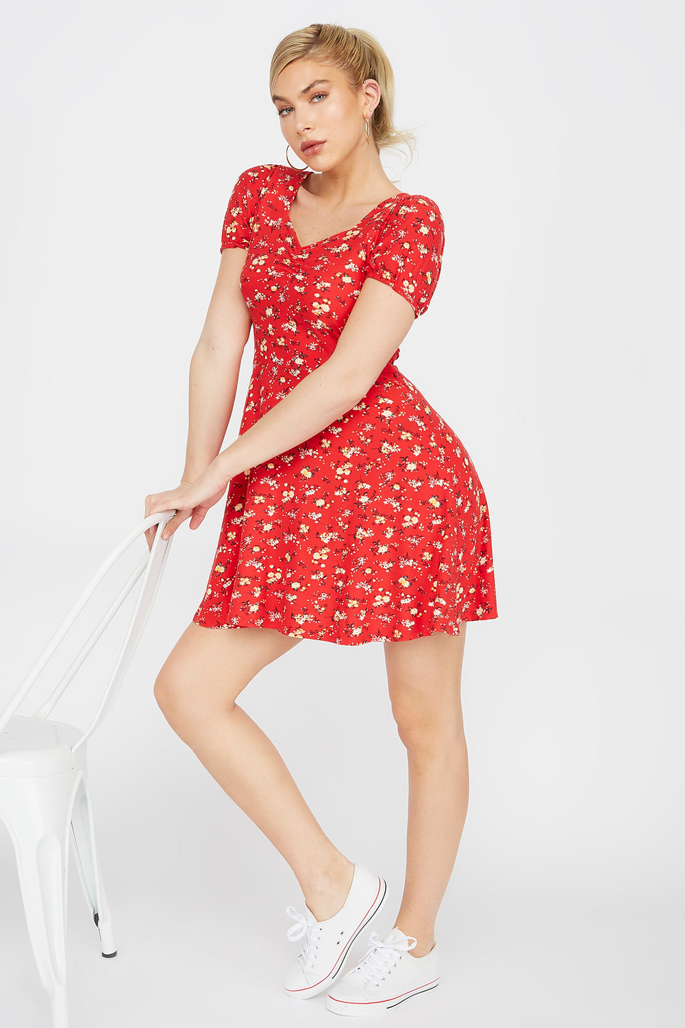 Soft Floral Sweetheart Puff Sleeve Skater Dress Red